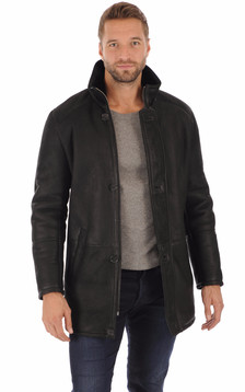 Veste en merinos noir homme
