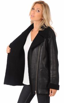 Veste peau lainée mouton noir