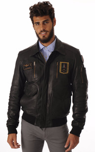 Blouson Cuir Noir Aviation Italienne1