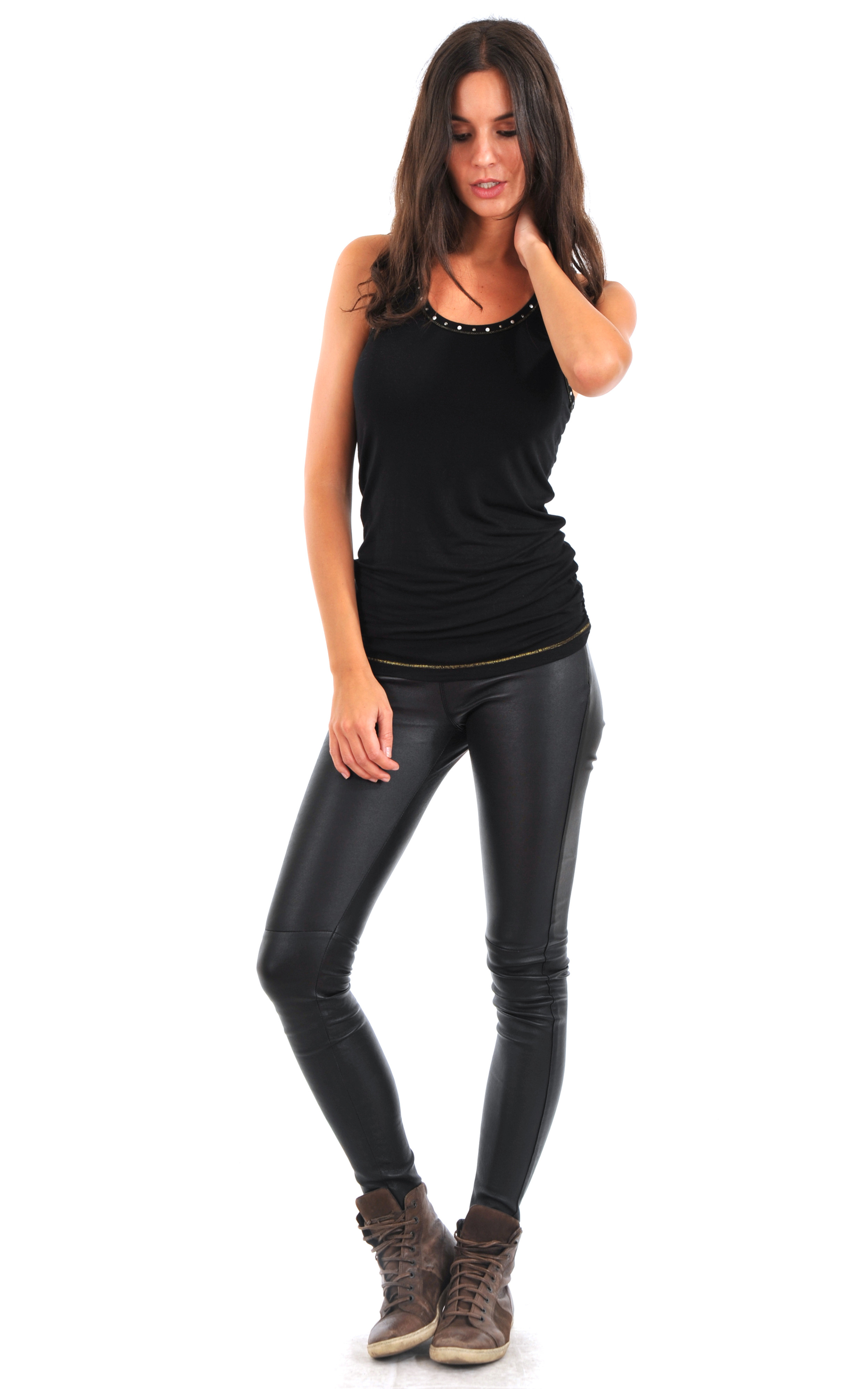 legging cuir stretch noir oakwood la canadienne pantalon short cuir noir. Black Bedroom Furniture Sets. Home Design Ideas