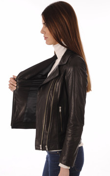 Blouson Perfecto Cuir Femme Noir