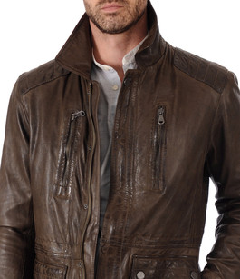 veste cuir homme trapper la canadienne veste 3 4 cuir marron. Black Bedroom Furniture Sets. Home Design Ideas