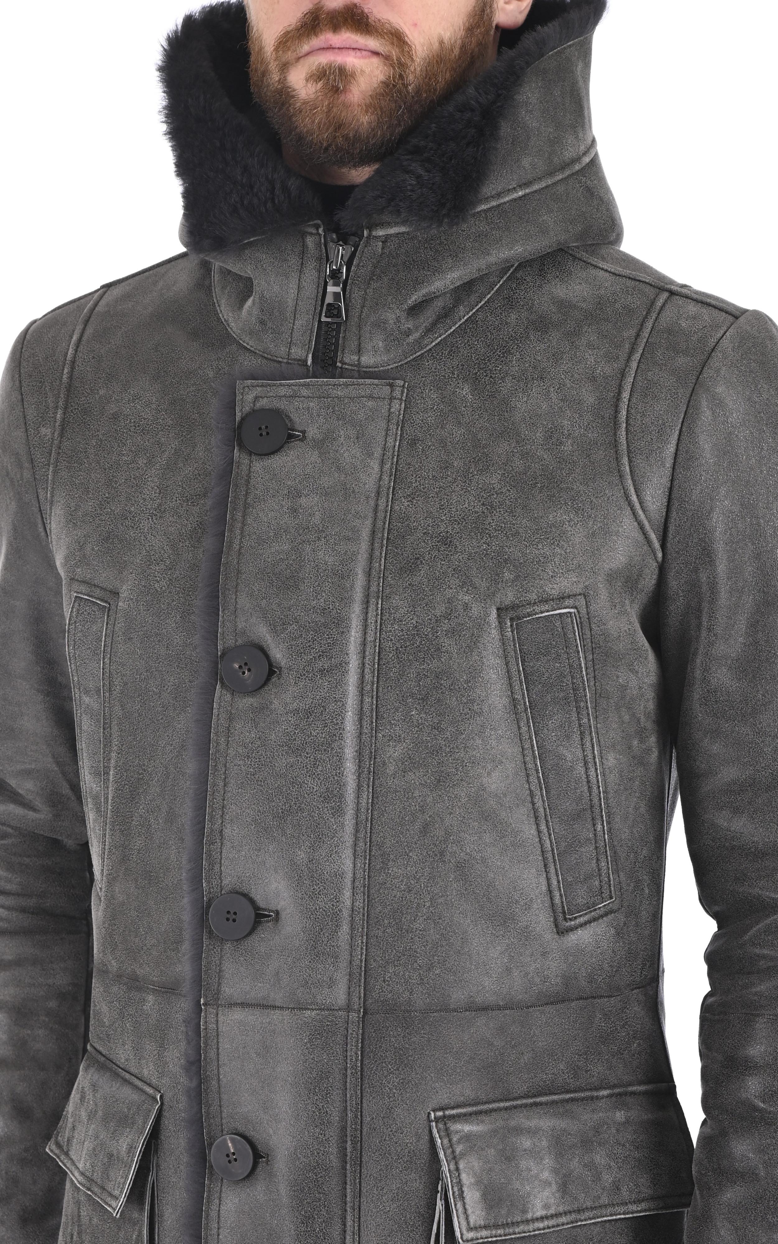 Manteau chic en laine d'agneau vieilli gris Artico