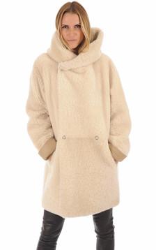 Manteau peau lainée Floride beige