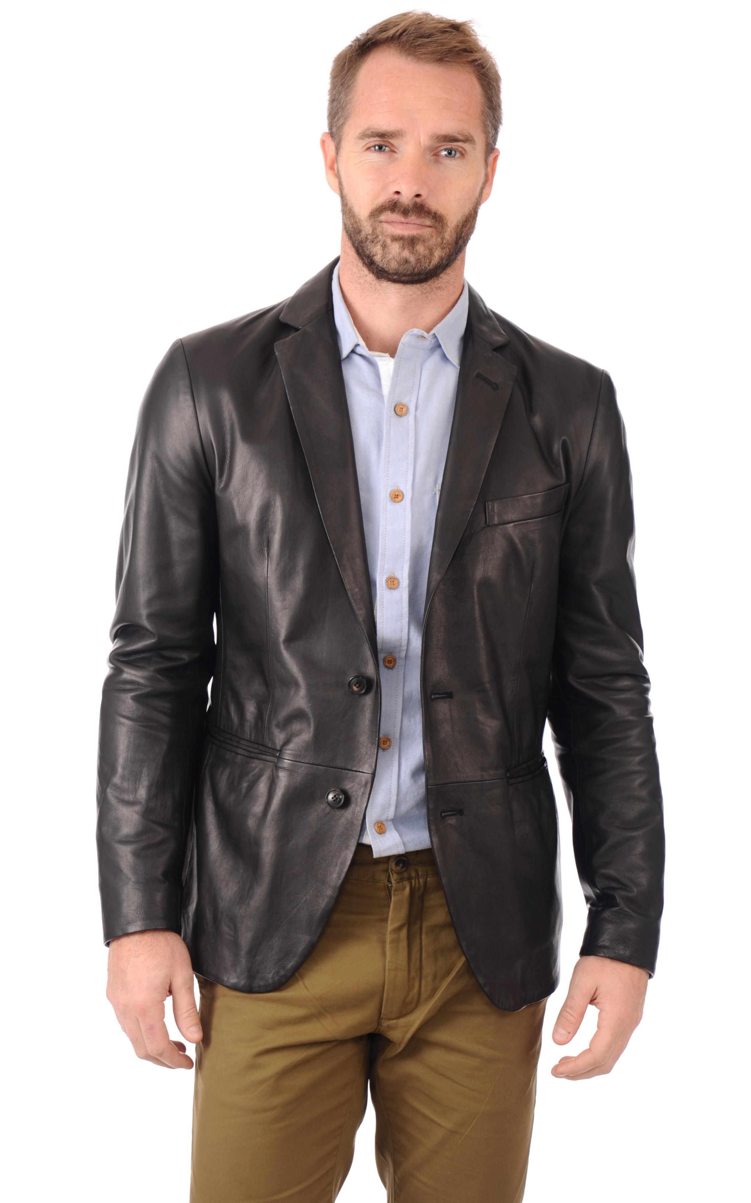 blazer cuir homme gallotti la canadienne veste 3 4 cuir noir. Black Bedroom Furniture Sets. Home Design Ideas