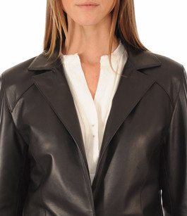 Blazer Cuir Femme Coupe Confort Peau d'Âne
