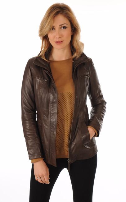 veste cuir marron pour femme la canadienne la canadienne veste 3 4 cuir marron. Black Bedroom Furniture Sets. Home Design Ideas