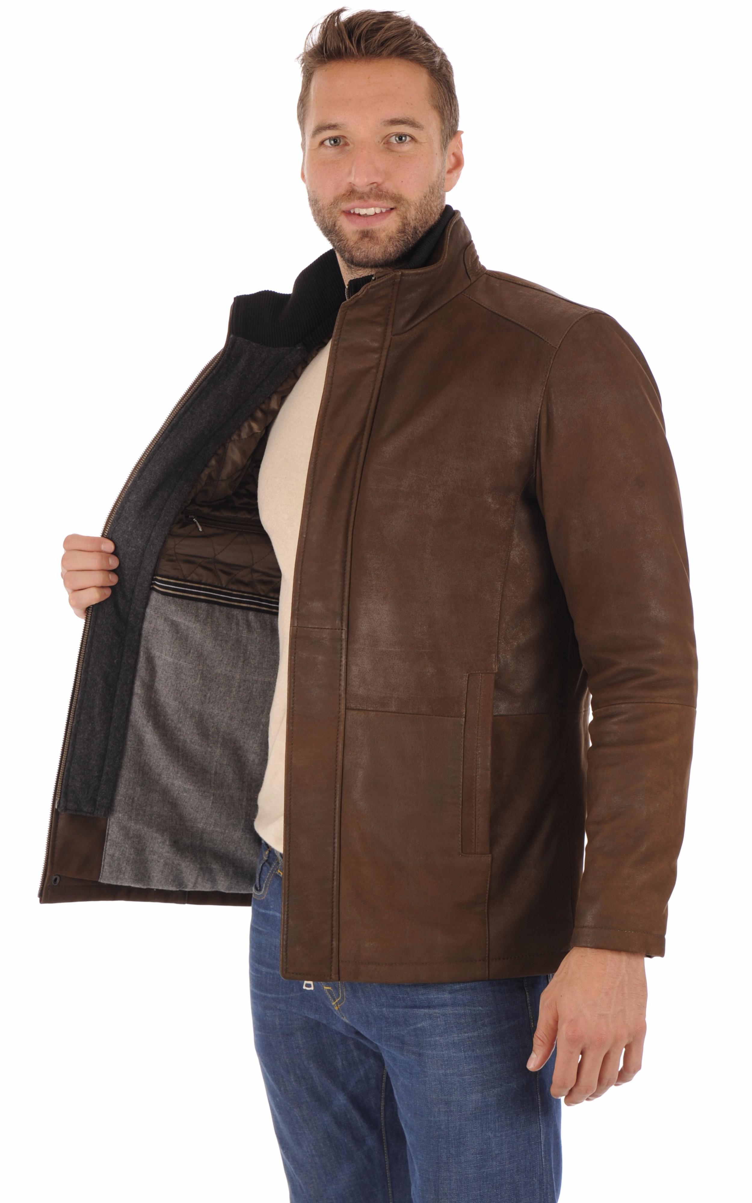 Veste cuir agneau marron homme Smarty