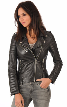 Blouson cuir Hipster Girl Noir1