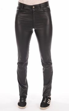 Pantalon slim cuir noir femme1