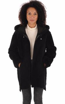 Manteau peau lainée Eden noir1