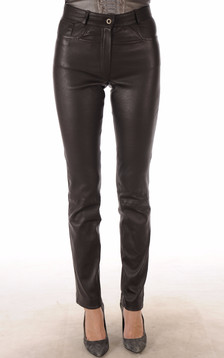 Pantalon Cuir Stretch Marron Coupe Droite1
