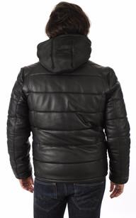 Doudoune en Cuir Noir LC6000