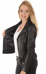Perfecto Cuir Agneau Noir Femme