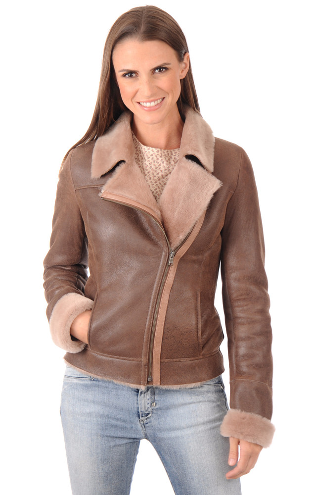 perfecto mouton femme la canadienne la canadienne blouson peau lain e marron. Black Bedroom Furniture Sets. Home Design Ideas