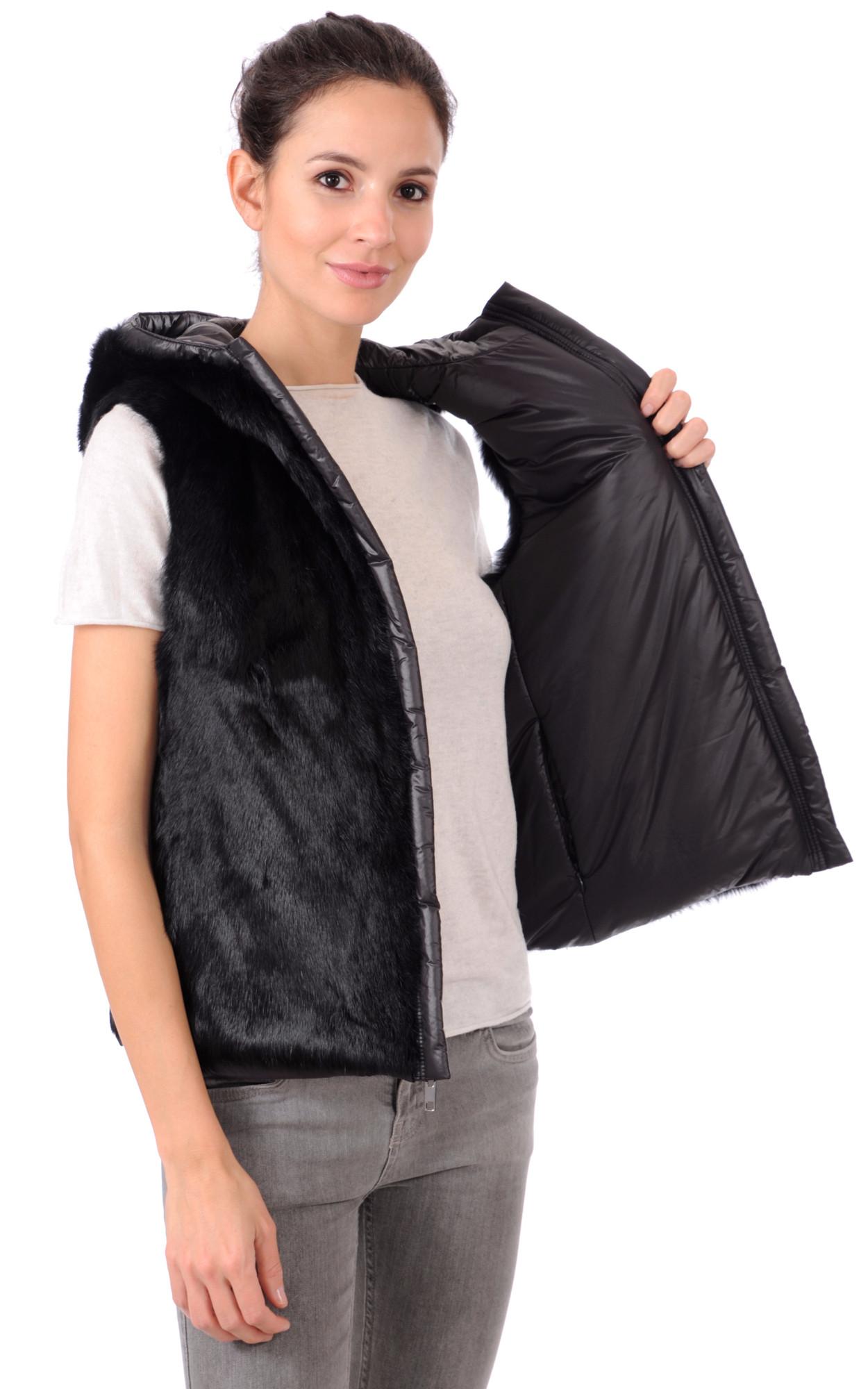 Gilet Textile et Fourrure Réversible
