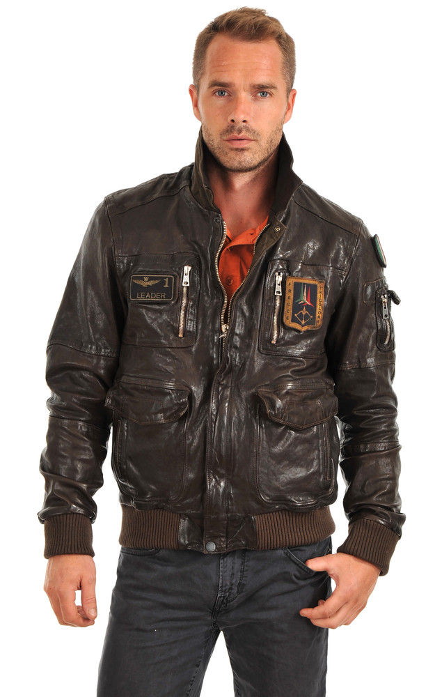 blouson cuir aviation italienne aeronautica militare la canadienne blouson cuir marron. Black Bedroom Furniture Sets. Home Design Ideas