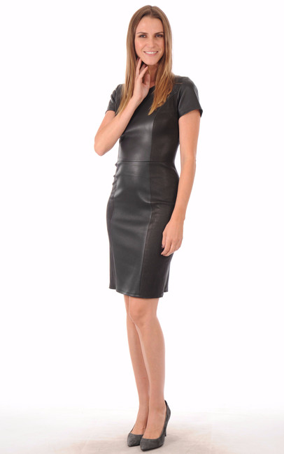 Robe Cuir Stretch Noir Reptile La Canadienne