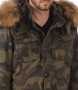 Parka Toile Militaire & Fourrure Homme Blonde n°8
