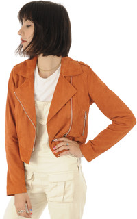 Blouson chèvre velours orange