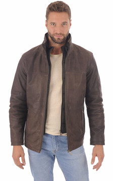 Veste cuir marron foncé homme