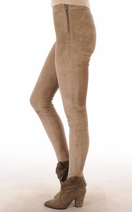Legging Cuir Velours Stretch Beige