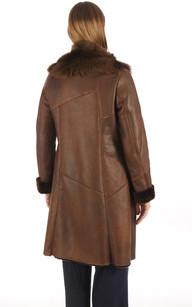 Manteau en Agneau de Toscane Marron Femme