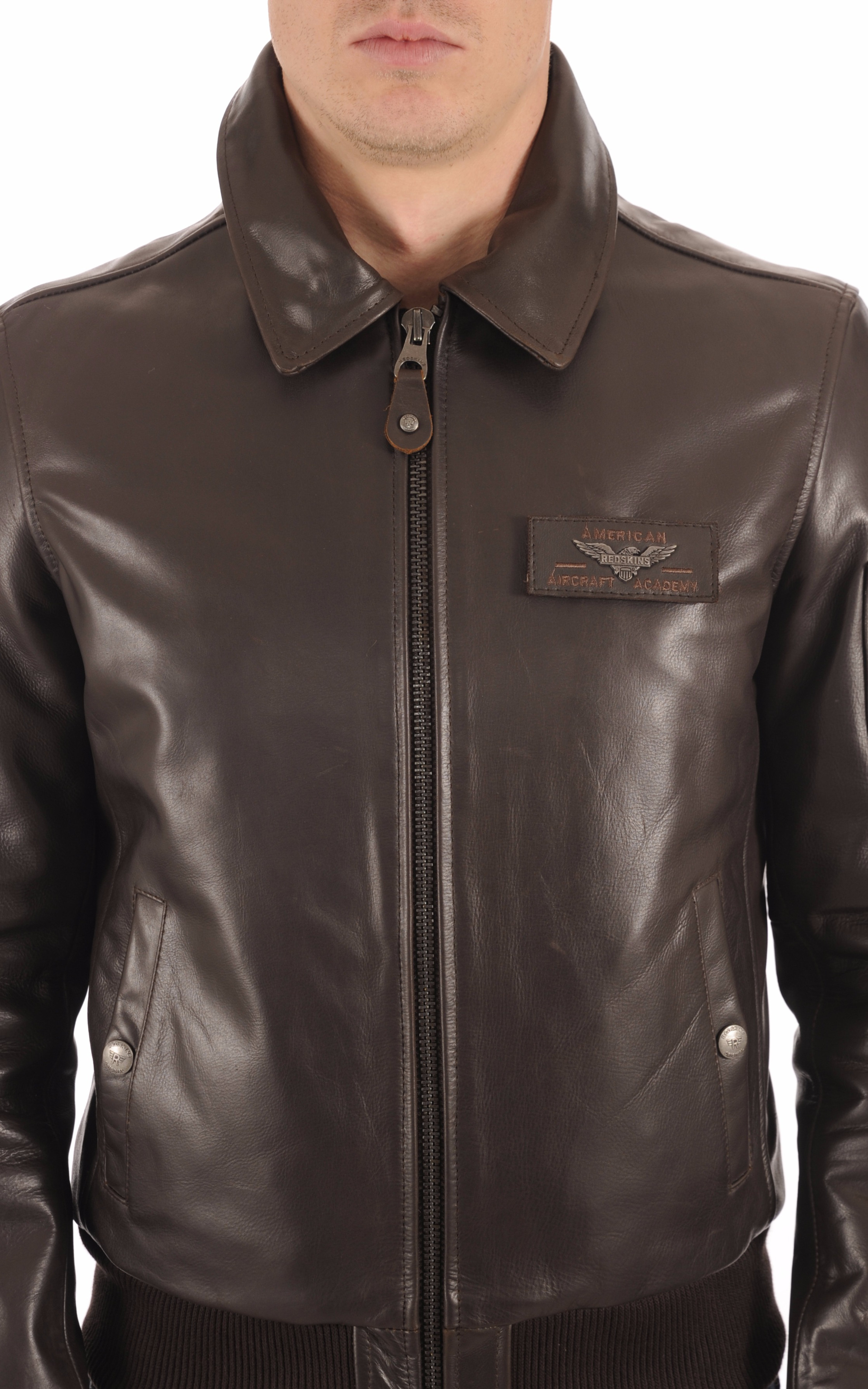 Blouson Texaco Cuir Marron Redskins