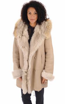 Manteau peau lainée beige