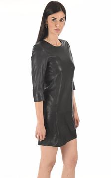 Robe cuir agneau noire