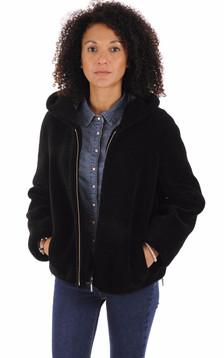 Veste en laine à capuche noir1