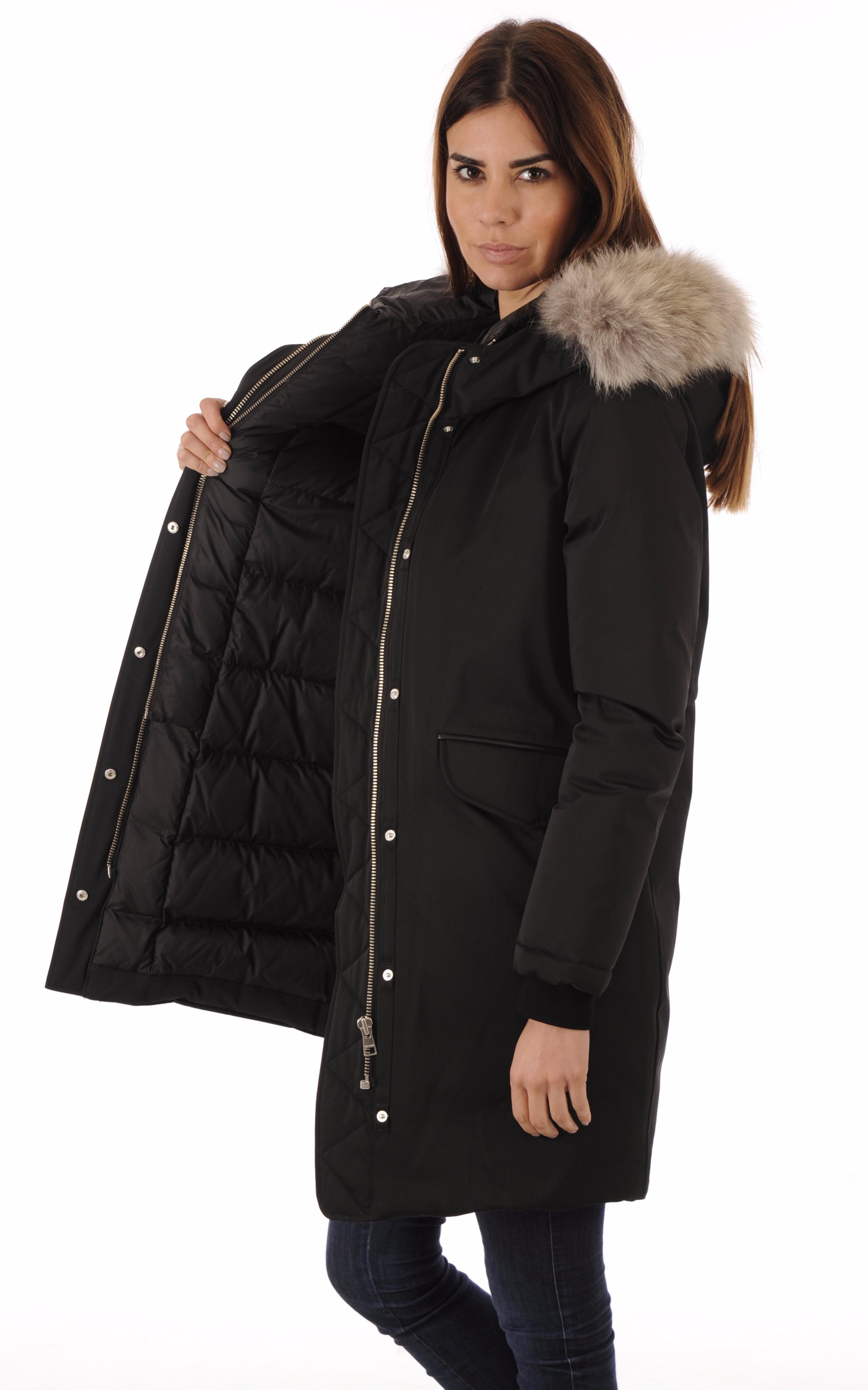 doudoune longue noire femme soia kyo la canadienne doudoune parka textile noir. Black Bedroom Furniture Sets. Home Design Ideas