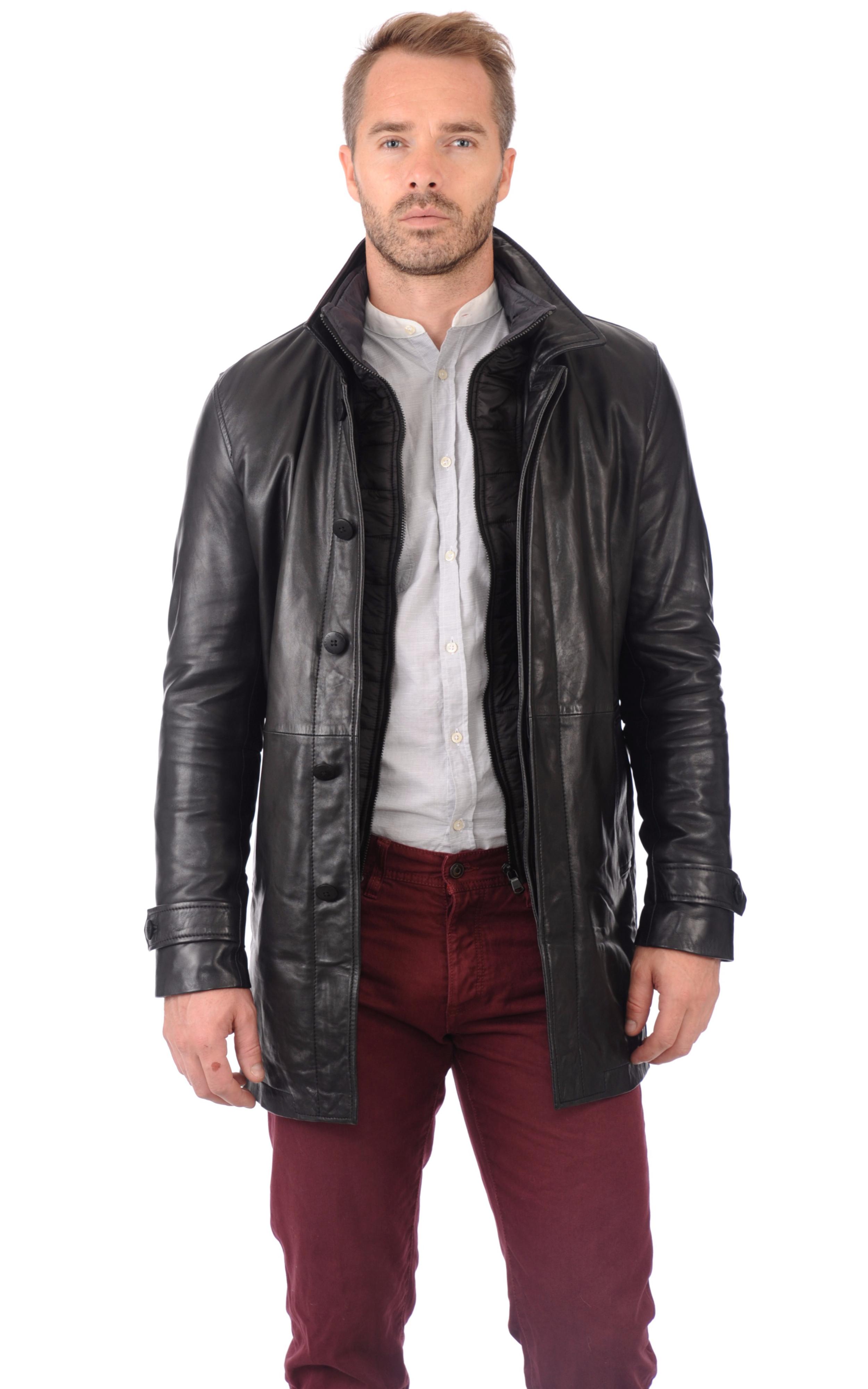 veste cuir noir homme redskins la canadienne veste 3. Black Bedroom Furniture Sets. Home Design Ideas