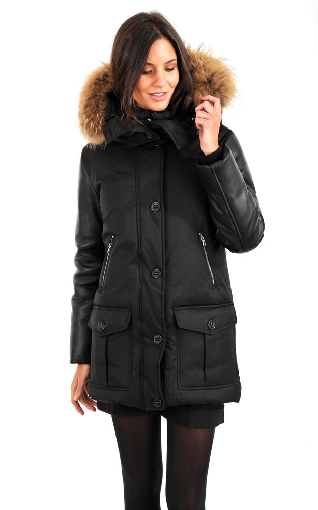 3 4 bi mati re femme mackage la canadienne doudoune parka textile noir. Black Bedroom Furniture Sets. Home Design Ideas