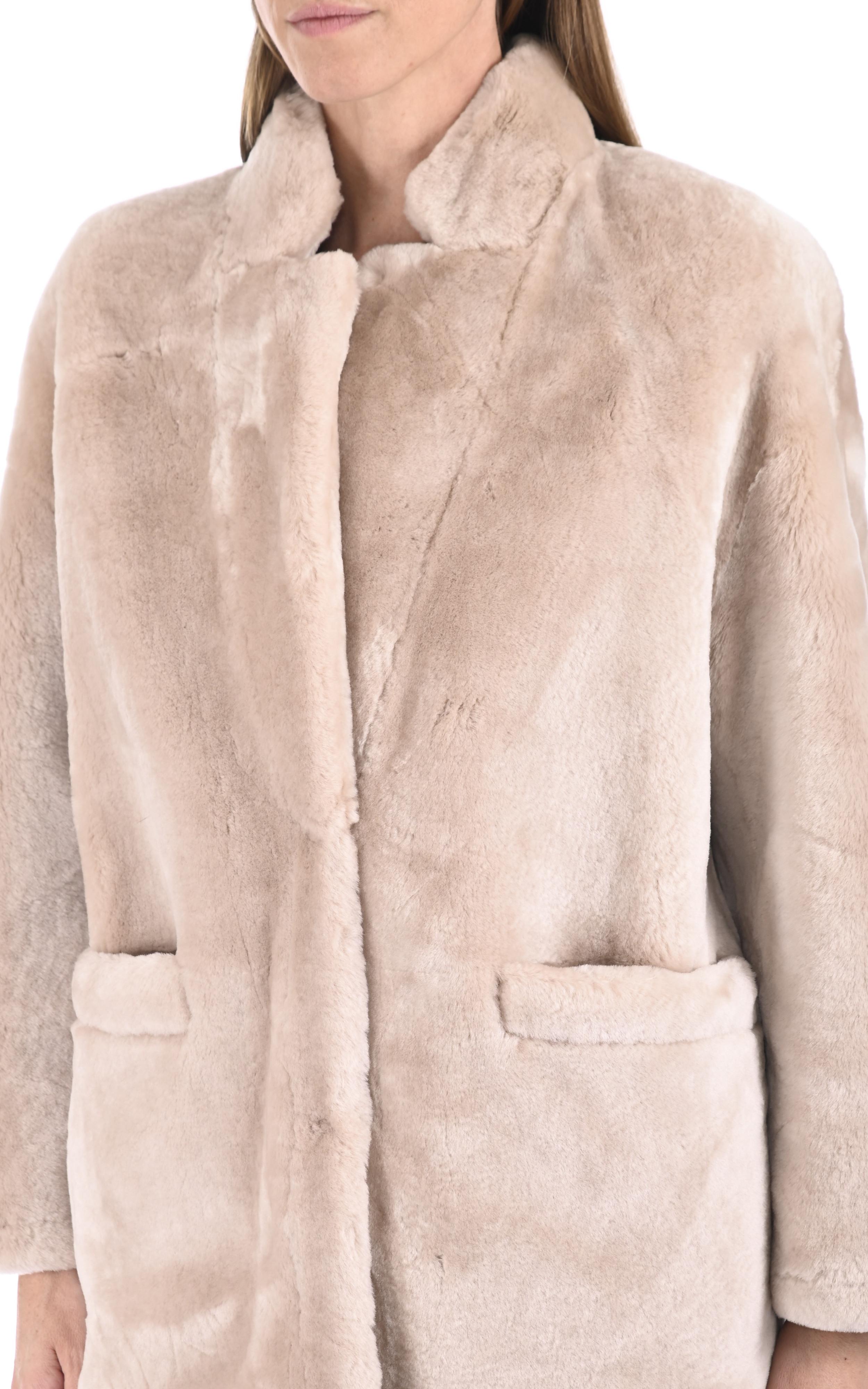 Veste peau lainée beige Malène