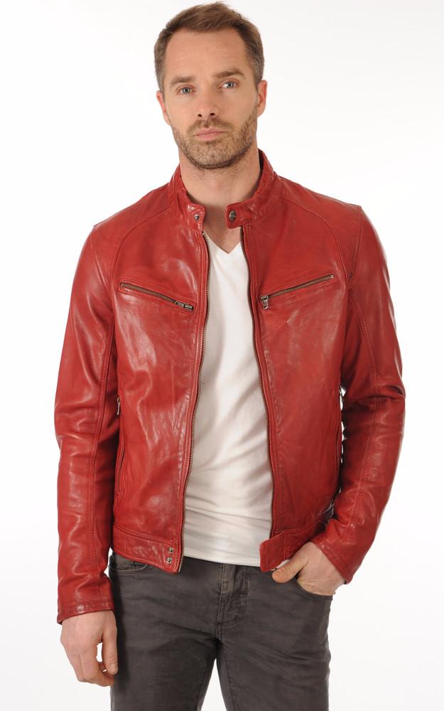 blouson dustin rouge daytona 73 la canadienne blouson cuir rouge. Black Bedroom Furniture Sets. Home Design Ideas