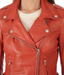 Blouson Style Perfecto City Girl Rouge Serge Pariente