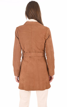 Robe chemise velours cognac
