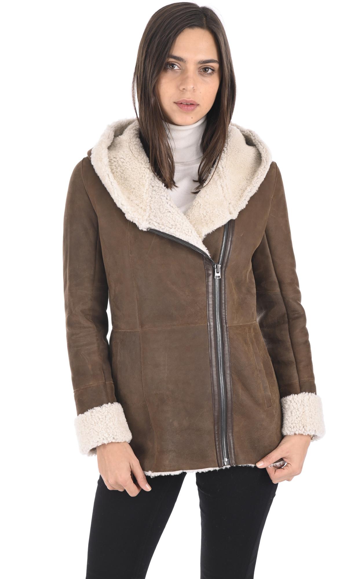 La Canadienne Veste Mouton Coupe Loose Femme Marron Magasin