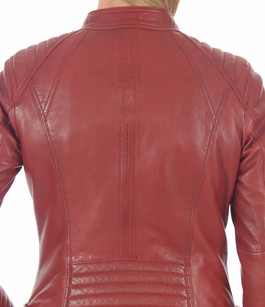 Blouson Cuir rouge style motard Serge Pariente