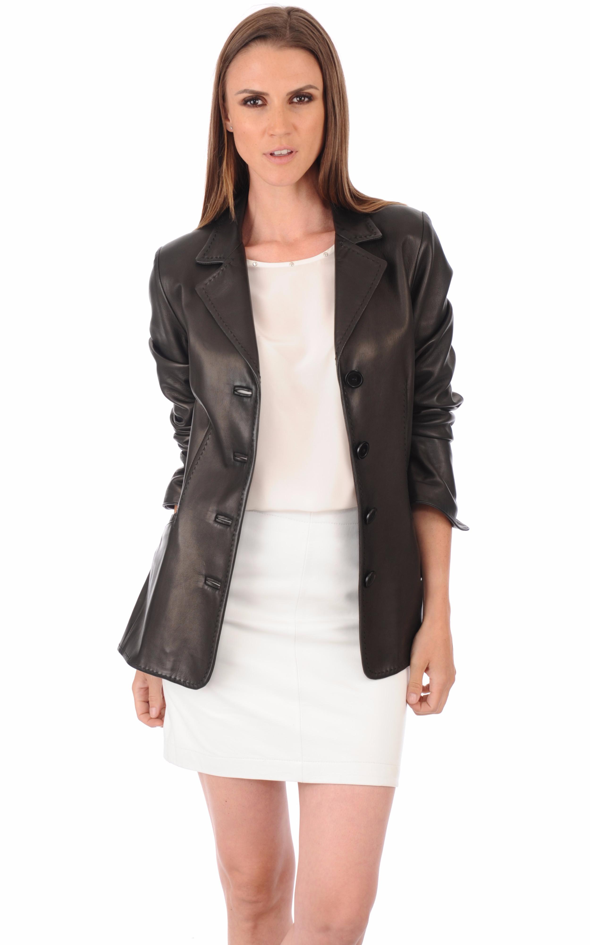 veste cuir femme coupe blazer la canadienne la canadienne veste 3 4 cuir noir. Black Bedroom Furniture Sets. Home Design Ideas