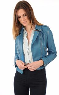 Veste cuir femme bleu