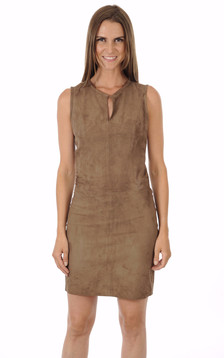 Robe cuir velours taupe1