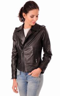 Blouson cuir noir brillant