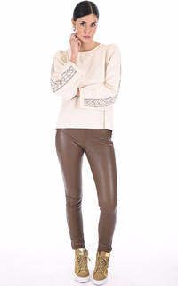 Legging cuir stretch cognac