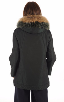 Parka Confortable Verte Fourrure Bicolore