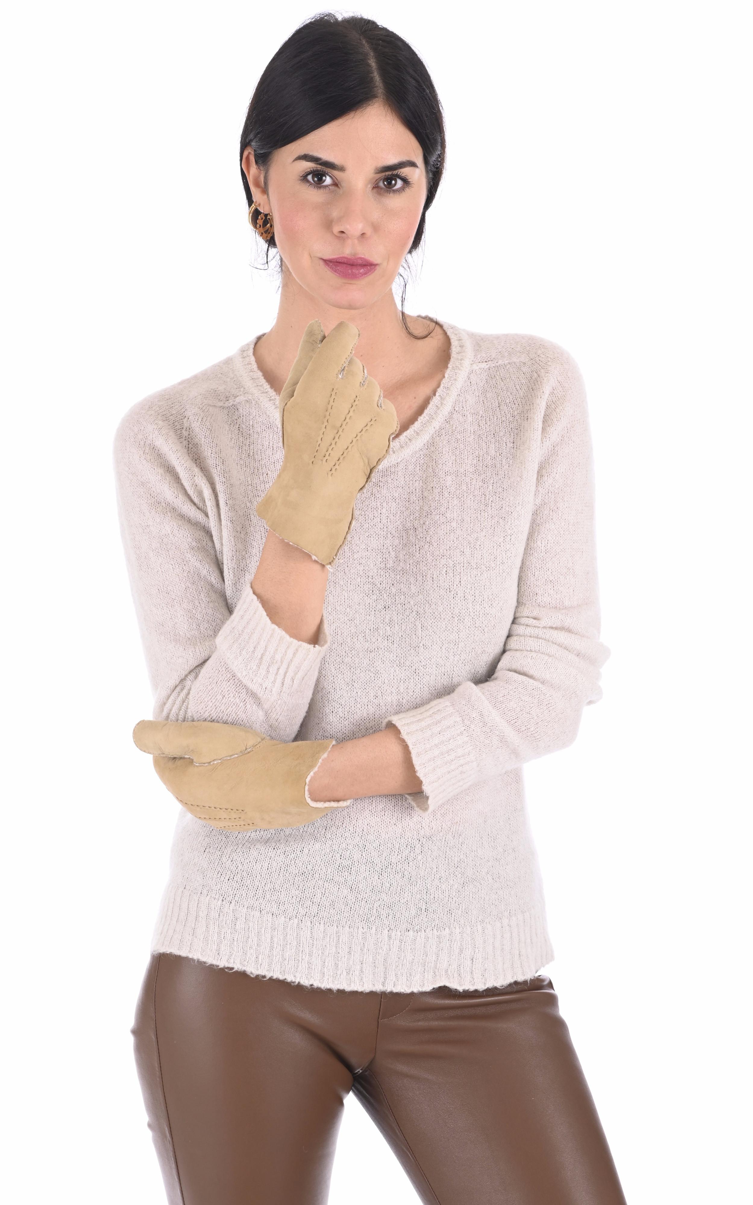 Gants peau lainée sable Hestra