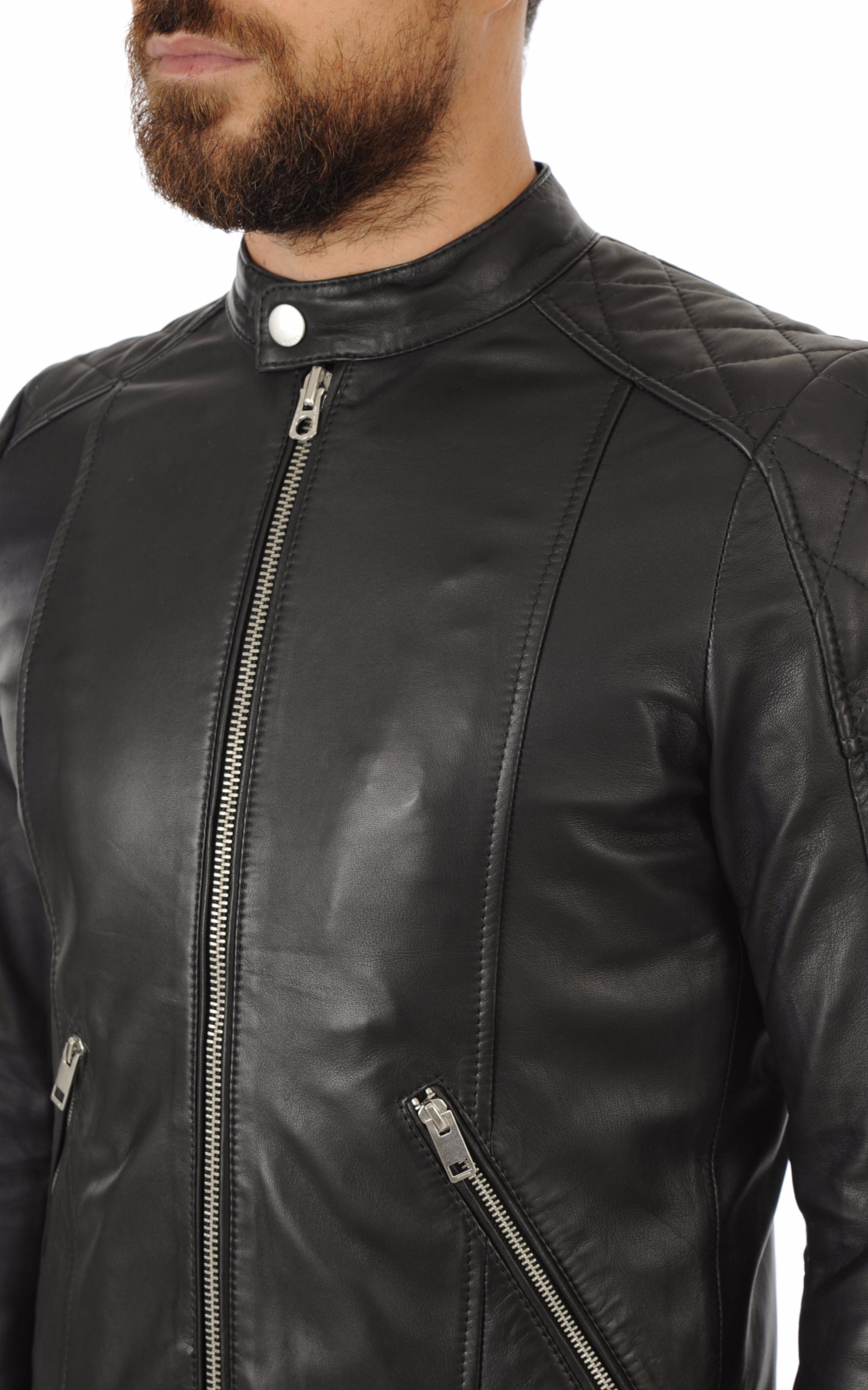 f1966c0e7bb35 Blouson Cuir Homme Sport-Chic Diesel - La Canadienne - Blouson Cuir Noir