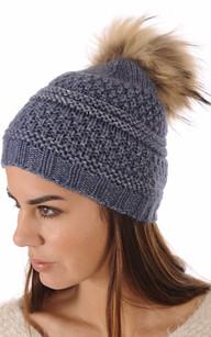 Bonnet Bleu Laine avec Pompon Fourrure
