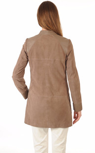3/4 Cuir Velours Taupe Femme